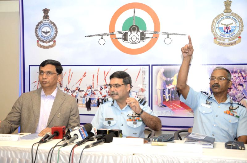 Indian Air Force officials address a press conference regarding an Airshow scheduled to be organised on 11th March 2015 at the Gateway of India, in Mumbai, on March 7, 2015.