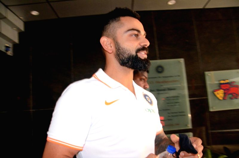 Mumbai: Indian captain Virat Kohli arrives to address a press conference ahead of the team's departure for the tour of Australia; in Mumbai on Nov 15, 2018. India prepares for the challenging tour to Australia, that includes four Tests, three ODIs an