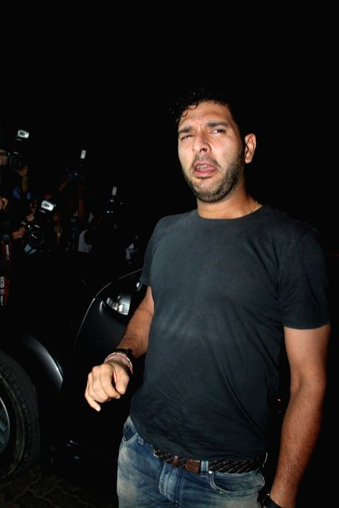 Indian Cricketer Yuvraj Singh at the party hosted by Deepika padukone for the succes of film Piku, in Mumbai, on May 18, 2015. - Cricketer Yuvraj Singh