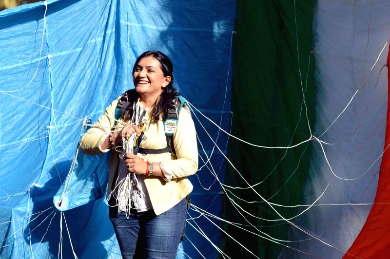 Indian sky-diving queen Shital Mahajan announces her plans to create four new world records in sky-diving and scuba-diving with a 100-strong Indian women team in Mumbai, on Feb 18, 2015. - Shital Mahajan
