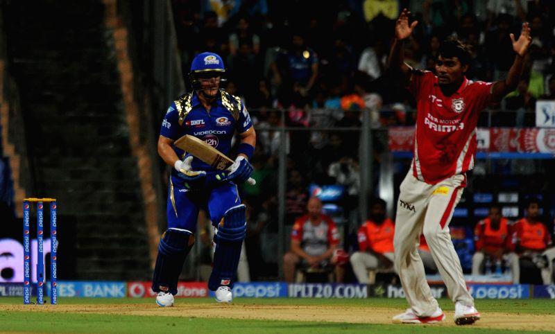Mumbai Indians Aron Finch in action during an IPL-2015 match between Mumbai Indians and Kings XI Punjab at Wankhede Stadium, in Mumbai, on April 12, 2015.