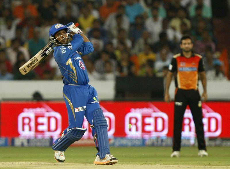 Mumbai Indians batsman Ambati Rayudu in action during 36th match of IPL 2014 between Sunrisers Hyderabad and Mumbai Indians at Rajiv Gandhi International Stadium in Hyderabad on May 12, 2014. - Ambati Rayudu
