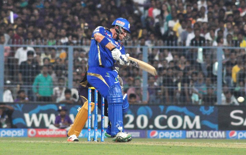 Mumbai Indians batsman Corey Anderson in action during an IPL-2015 match between Kolkata Knight Riders and Mumbai Indians in Kolkata, on April 8, 2015. - Corey Anderson