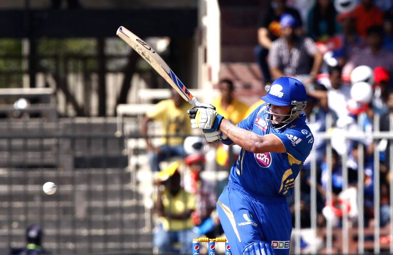 Mumbai Indians batsman Michael Hussey in action during the 16th match of IPL 2014 between Mumbai Indians and Delhi Daredevils, played at Sharjah Cricket Stadium in Sharjah of United Arab Emirates on . - Michael Hussey