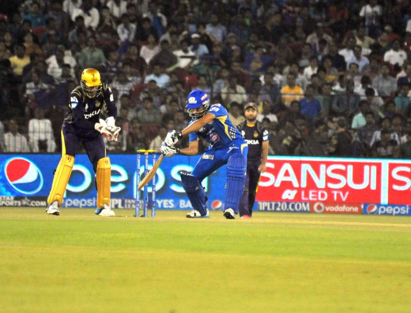 Mumbai Indians batsman Rohit Sharma in action during the 40th match of IPL 2014 between Mumbai Indians and Kolkata Knight Riders at Barabati Stadium in Cuttack on May 14, 2014. - Rohit Sharma