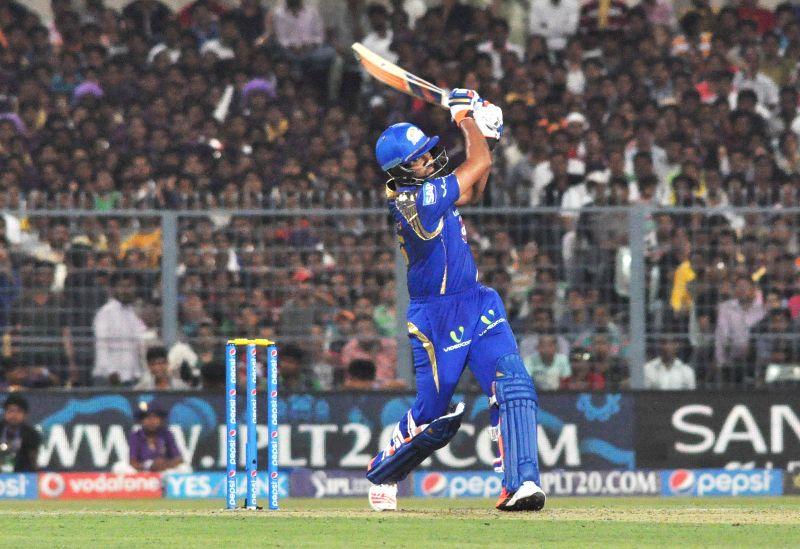 Mumbai Indians batsman Rohit Sharma in action during an IPL-2015 match between Kolkata Knight Riders and Mumbai Indians in Kolkata, on April 8, 2015. - Rohit Sharma