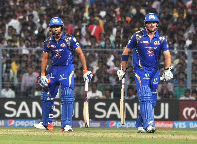 Mumbai Indians batsmen Corey Anderson and Rohit Sharma during an IPL-2015 match between Kolkata Knight Riders and Mumbai Indians in Kolkata, on April 8, 2015. - Rohit Sharma