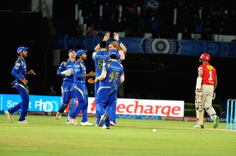 Mumbai Indians celebrate fall of a wicket during an IPL match between Mumbai Indians and Kings XI Punjab at Dr YS Rajasekhara Reddy ACA-VDCA Cricket Stadium in Visakhapatnam on May 13, ... - Rajasekhara Reddy A