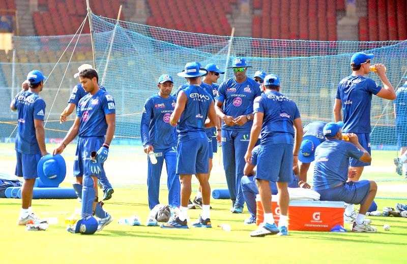 Mumbai Indians during a practice session at Sardar Patel Stadium in Ahmedabad on May 17, 2014. - Sardar Patel Stadium