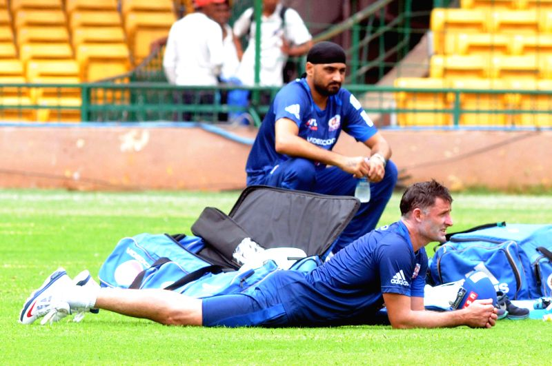 Mumbai Indians player Harbhajan Singh during a practice session ahead of Champions League in Bangalore on Sept 4, 2014. The venue of practice has been shifted to Bangalore due to rains in Mumbai. - Harbhajan Singh