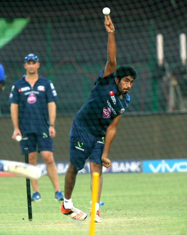 Mumbai Indians player Jasprit Bumrah during a practice session at Green Park in Kanpur on May 20, 2016.