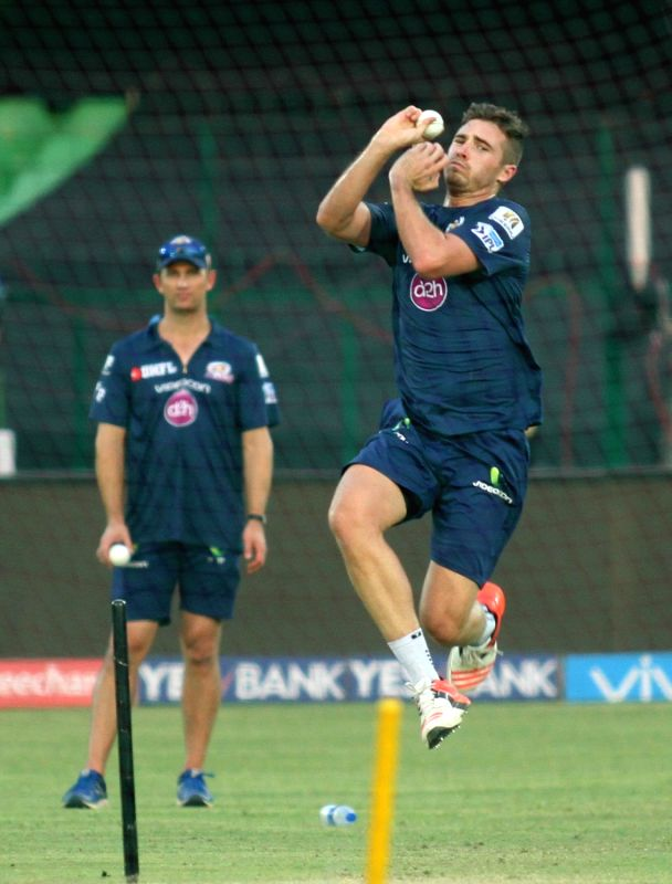Mumbai Indians player Tim Southee during a practice session at Green Park in Kanpur on May 20, 2016.