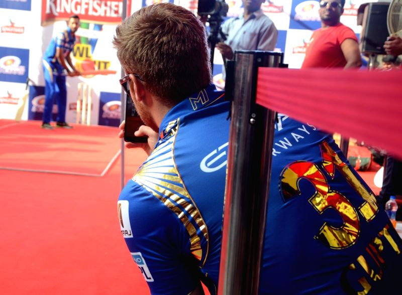 Mumbai Indians players Martin Gutpill and Krunal Pandya during a promotional event in Mumbai on May 17, 2016.