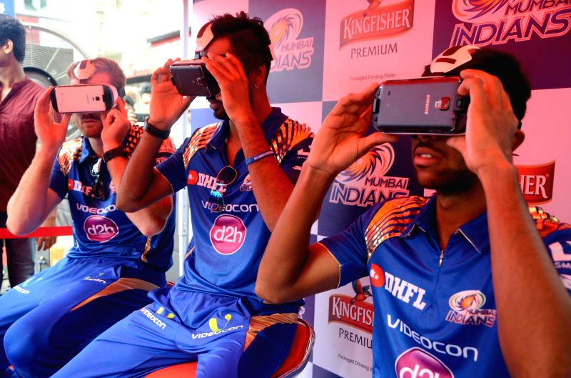 Mumbai Indians players Martin Gutpill, Krunal Pandya and Jagadeesha Suchith during a promotional event in Mumbai on May 17, 2016.
