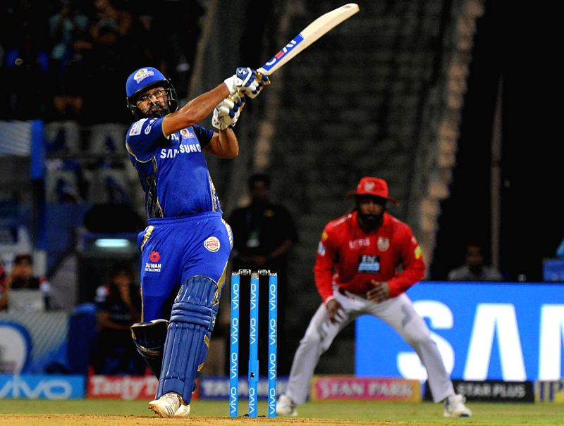 Mumbai Indians' Rohit Sharma in action during an IPL 2018 match between Mumbai Indians and Kings XI Punjab at Wankhede Stadium in Mumbai, on May 16, 2018. - Rohit Sharma
