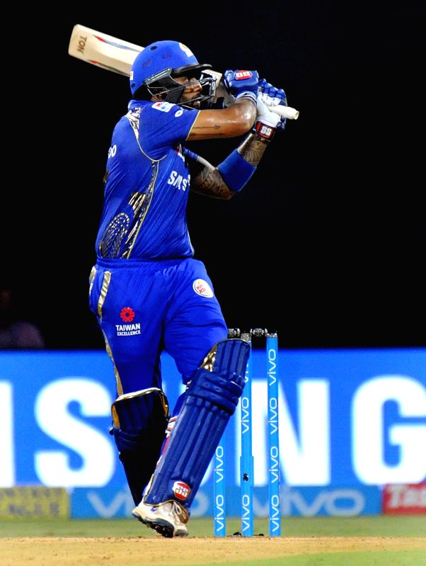 Mumbai Indians' Suryakumar Yadav in action during an IPL 2018 match between Mumbai Indians and Kings XI Punjab at Wankhede Stadium in Mumbai, on May 16, 2018. - Suryakumar Yadav
