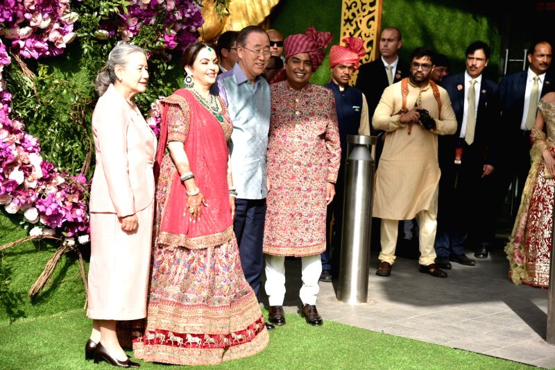 Mumbai: Industrialist Mukesh Ambani and his wife Nita Ambani with Former UN secretary general Ban Ki-Moon and his wife at the wedding festivities of Akash Ambani and Shloka Mehta in Mumbai on March 9, 2019.