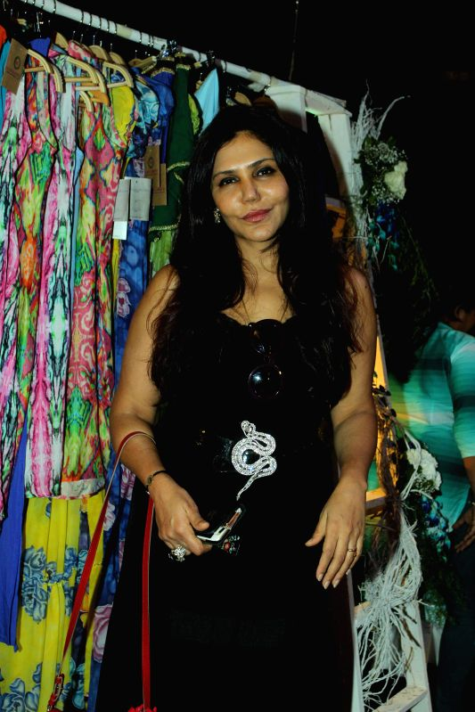 Interior Designer Nisha Jamvwal during the preview of summer/resort 2015 collection by fashion designer Maheka Mirpuri, in Mumbai on April 9, 2015.