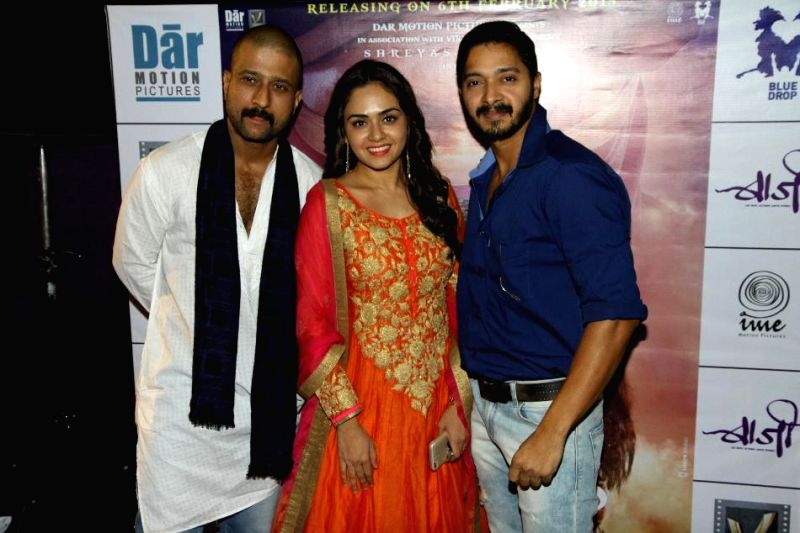 Jitendra, Amruta and actor Shreyas during the first look and theatrical trailer launch of Shreyas Talpade starrer `Baji` in Mumbai, on Dec 9, 2014.