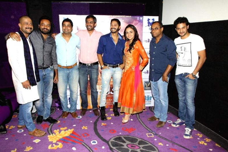 Jitendra, Nikhil, Amit, Suhrud, Shreyas, Amruta, Vivek and Adinath during the first look and theatrical trailer launch of Shreyas Talpade starrer `Baji` in Mumbai, on Dec 9, 2014.