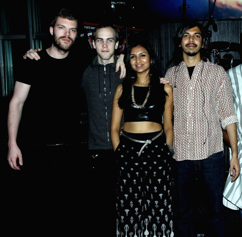 Jonas Blomqvist, Dennish Nilsson, Bhavana Reddy and Vinay Kaushal during the launch of her music album Tangled in Emotion in Mumbai on Feb 06, 2015. - Bhavana Reddy
