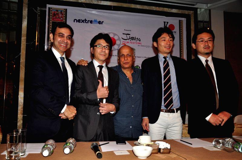 K House India MD Palash Banerjee,  Chairman K House INC Takeshi Kogahara with filmmaker Mahesh Bhatt during the press conference to announce K house Japan, 1st edition of Japan film festival . - Palash Banerjee