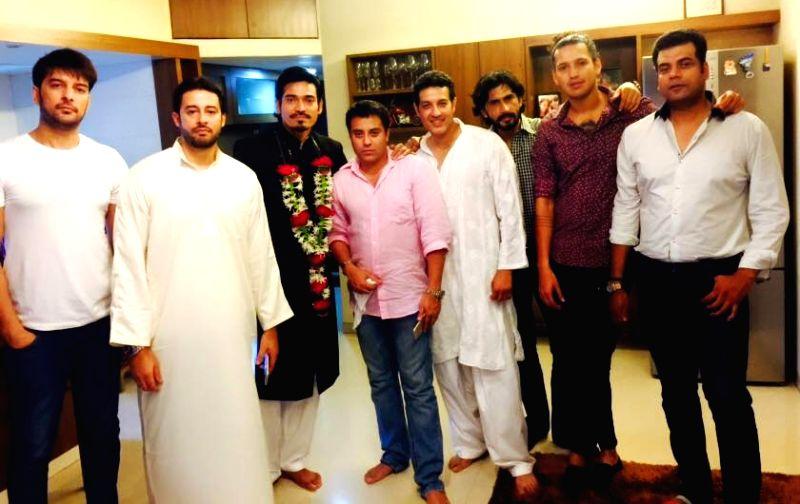 Kapil Khadiwal, Zulfi Syed, Mr. Waahiid Ali Khan, Praveen Sirohi, Designer Asif Shah and other model friends at Super Model and Actor Shawar Ali's marriage ceremony in Mumbai. - Waahiid Ali Khan and Asif Shah