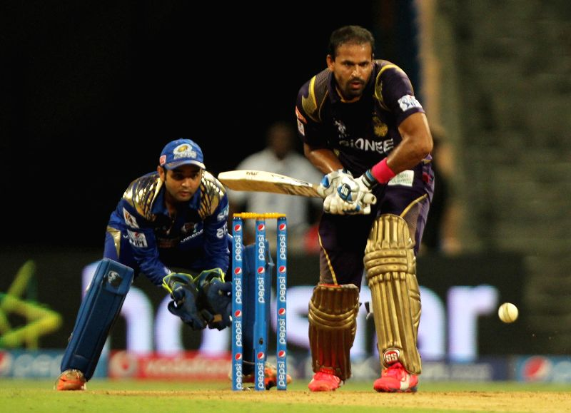 Kolkata Knight Riders batsman Yusuf Pathan in action during an IPL 2015 match between Mumbai Indians and Kolkata Knight Riders at Wankhede Stadium in Mumbai on May 14, 2015. - Yusuf Pathan