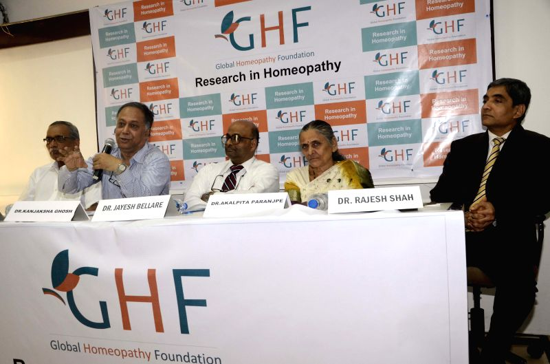 (L to R) Dr Abhay Choudhary, Dr Kanjaksha Ghosh, Dr. Jayesh Bellare, Dr. Akalpita Paranjpe and Dr Rajesh Shah address a press conference regarding `Research in Homeopathy` at Press Club in ... - Abhay Choudhary, Kanjaksha Ghosh and Rajesh Shah