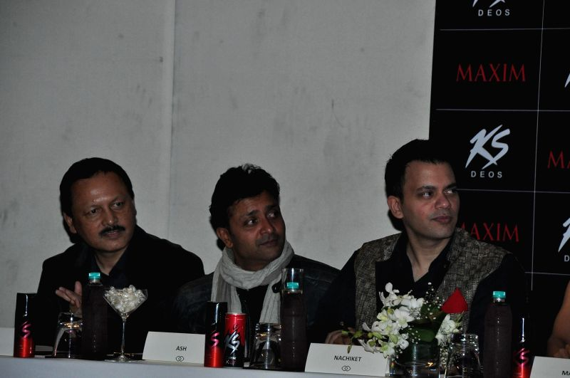 (L to R) Jury members Ranju Kumar Mohan, Ash Chandler, Nachiket Barve during the Grand Finale of Miss Maxim 2015 in Mumbai on Dec 21, 2014. - Ranju Kumar Mohan