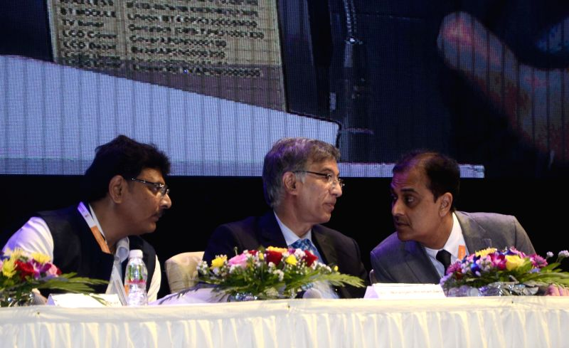(L to R) NAREDCO vice president Rajan Bandelkar, Co Founder and MD, Hiranandani Group, Niranjan Hiranandani and NAREDCO president Sunil Mantri during the inauguration of NAREDCO (National ...