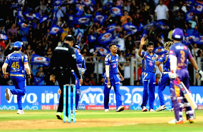 Mumbai: Lasith Malinga of Mumbai Indians celebrates fall of Steve Smith's wicket during the first qualifier of IPL 2017 between Mumbai Indians and Rising Pune Supergiant at Wankhede Stadium ...