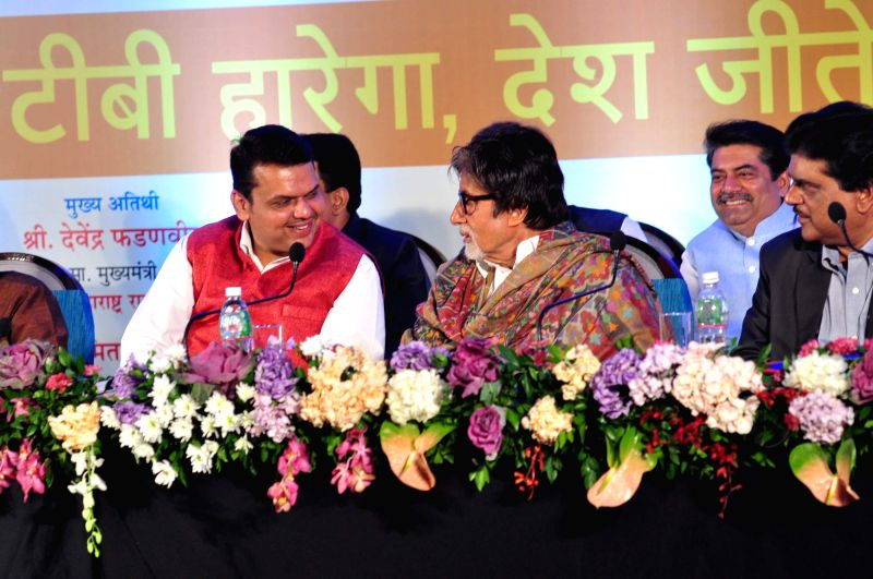 Maharashtra Chief Minister Devendra Fadnavis and Bollywood actor Amitabh Bachchan during launch of TB irradication awareness campaign in Mumbai, on Dec 21, 2014. - Devendra Fadnavis