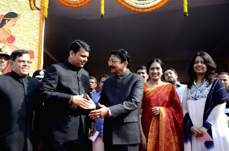 Maharashtra Chief Minister Devendra Fadnavis and Maharashtra Governor Chennamaneni Vidyasagar Rao during Republic Day celebrations at Shivaji Park in Mumbai, on Jan 26, 2015. - Devendra Fadnavis and Chennamaneni Vidyasagar Rao