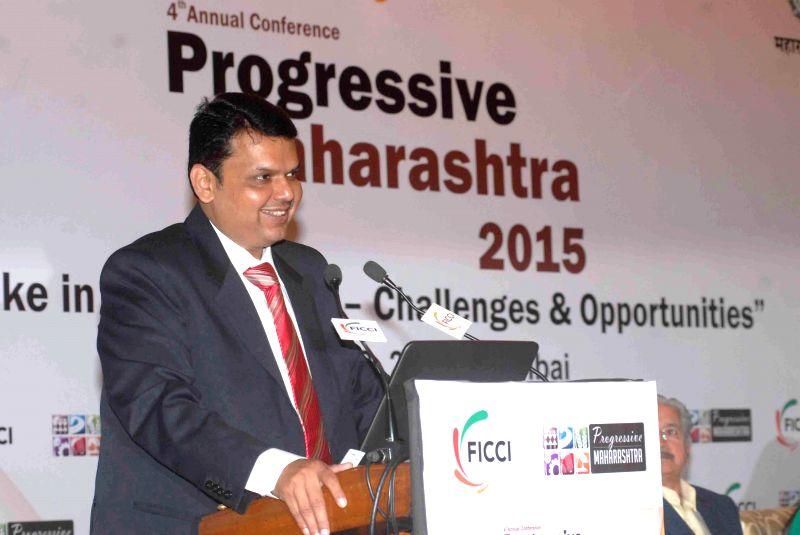 Maharashtra Chief Minister Devendra Fadnavis addresses at the `4th Annual Conference  Progressive Maharashtra 2015` organised by FICCI in Mumbai on Feb 12, 2015. - Devendra Fadnavis