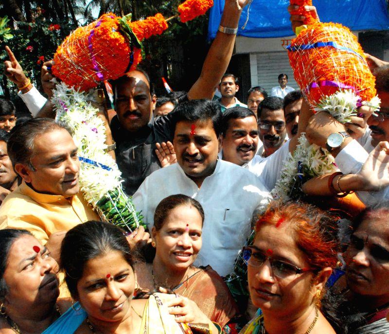 Maharashtra Congress chief Ashok Chavan being felicitated at Tilak Bhavan in Mumbai, on March 9, 2015.