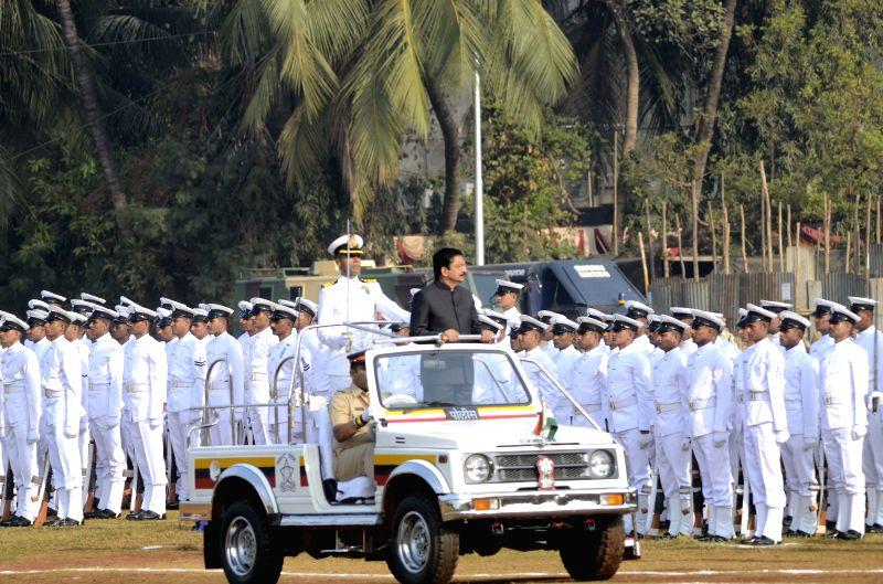 Maharashtra Governor Chennamaneni Vidyasagar Rao  inspects guard of honour during Republic Day celebrations at Shivaji Park in Mumbai, on Jan 26, 2015. - Chennamaneni Vidyasagar Rao
