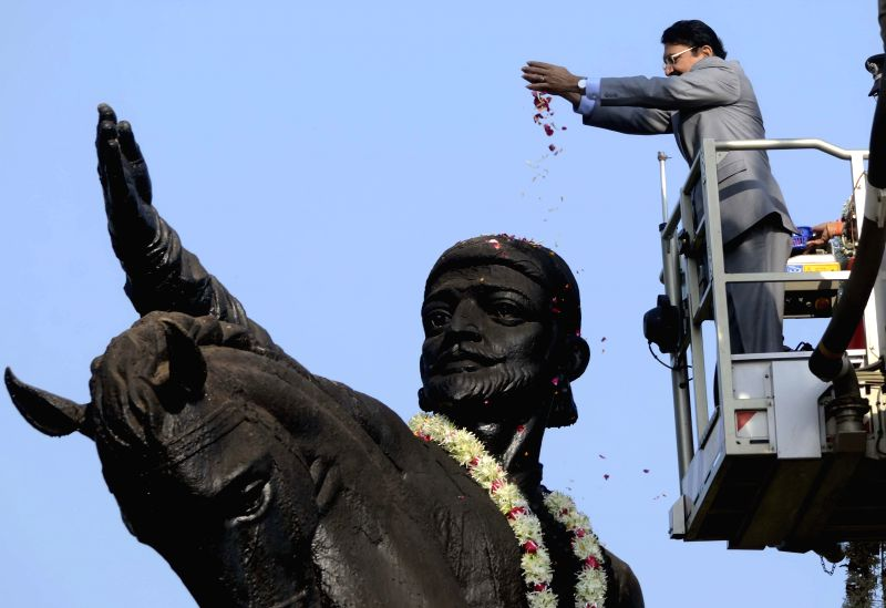 Maharashtra Governor Chennamaneni Vidyasagar Rao pays tribute to Chatrapati Shivaji on his birth anniversary  in Mumbai, on Feb 19, 2015. - Chennamaneni Vidyasagar Rao