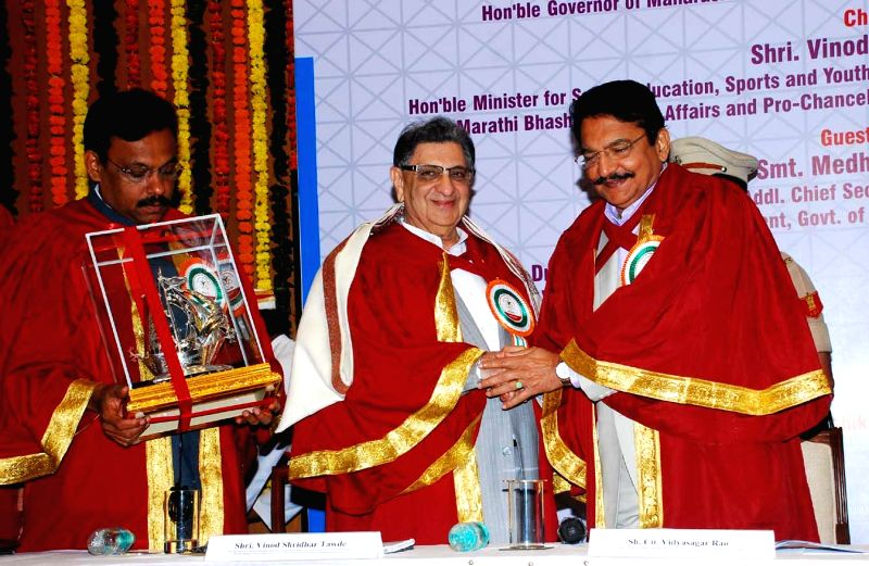 Maharashtra Governor Chennamaneni Vidyasagar Rao with the Chairman and Managing Director of the Serum Institute of India Dr Cyrus Poonawalla during a programme organised to confer him D Litt ... - Chennamaneni Vidyasagar Rao