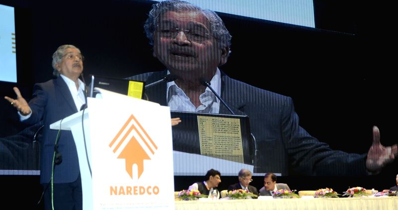 Maharashtra Industries Minister Subhash Desai addresses during the inauguration of NAREDCO (National Real Estate Development Council) conclave at the NCPA in Mumbai, on April 22, 2015. - Subhash Desai