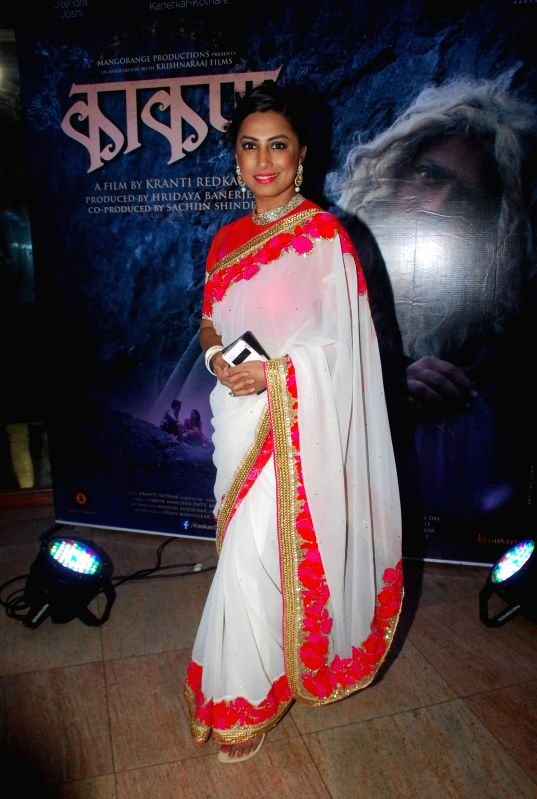 Marathi actor Kranti Redkar during the music launch of Marathi film Kaakan in Mumbai on March 11, 2015. - Kranti Redkar