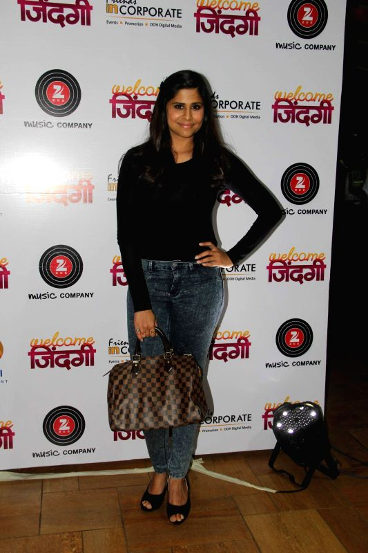 Marathi actress Sai Tamhankar during the first look and music launch of Marathi film Welcome Zindagi in Mumbai, on May 2, 2015. - Sai Tamhankar