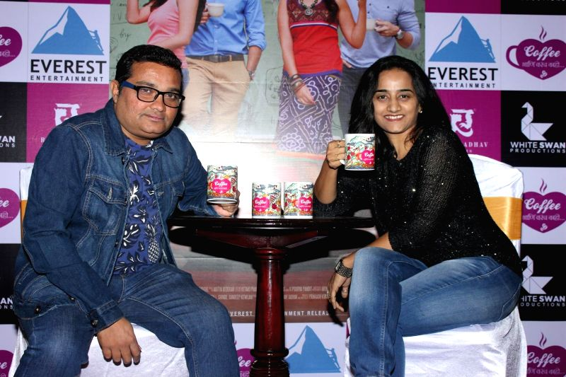 Marathi filmmakers Ravi Jadhav and Meghana Jadhav, during the music launch of Marathi film Coffee Ani Barach Kahi in Mumbai, on March 10, 2015.