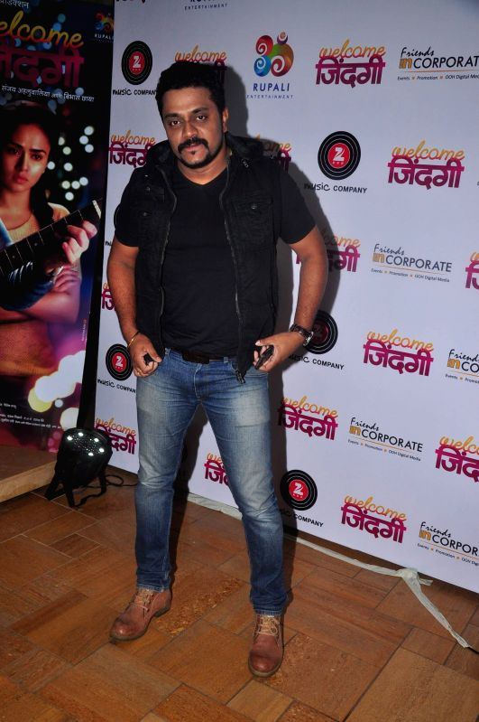 Marathi playback singer Amit Raj during the first look and music launch of Marathi film Welcome Zindagi in Mumbai, on May 2, 2015.