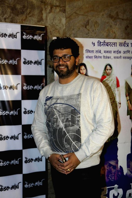 Marathi singer and music composer Avadhoot Gupte during special screening of Marathi film Candle March in Mumbai  in Mumbai on Dec 4, 2014.