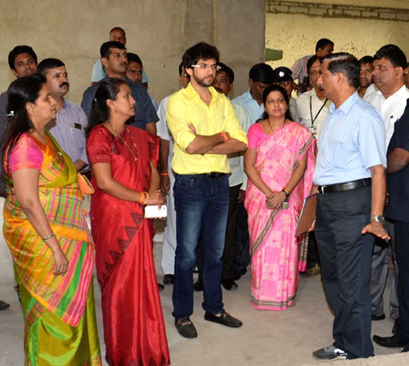 Mumbai Mayor Snehal Ambekar with Yuva Sena chief Aditya Thackeray at Byculla zoo in Mumbai, on Feb 18, 2015.