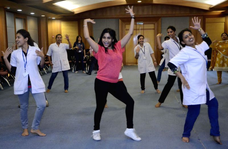 Medical staff of a Mumbai hospital during a programme organised on the eve of Women's Day, on March 7, 2015.