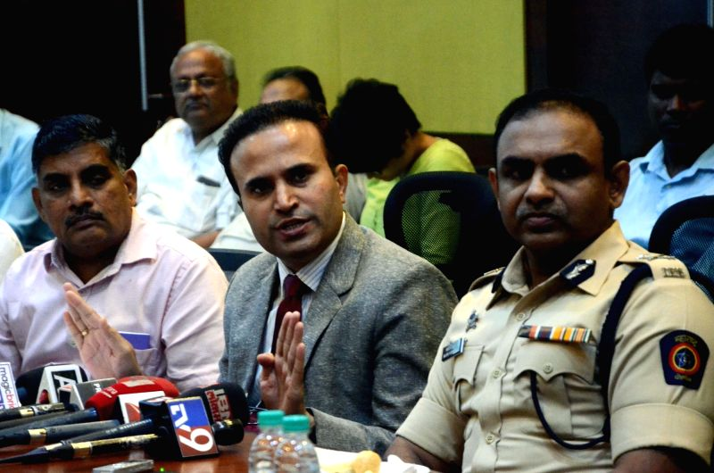 Mumbai Metropolitan Region Development Authority additional Metropolitan Commissioner Pravin Darade addresses a press conference regarding Line 7 of Mumbai Metro on Aug 8, 2016.