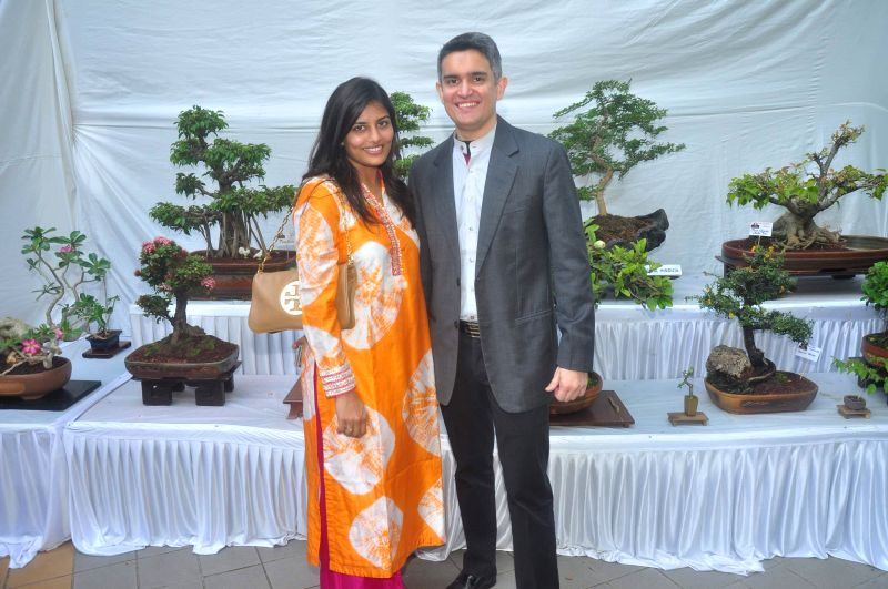 Minal and Sujay Jairaj during the Inauguration of Exotic Bonsai and Ikebana Exhibition in Mumbai on Feb 27, 2015.