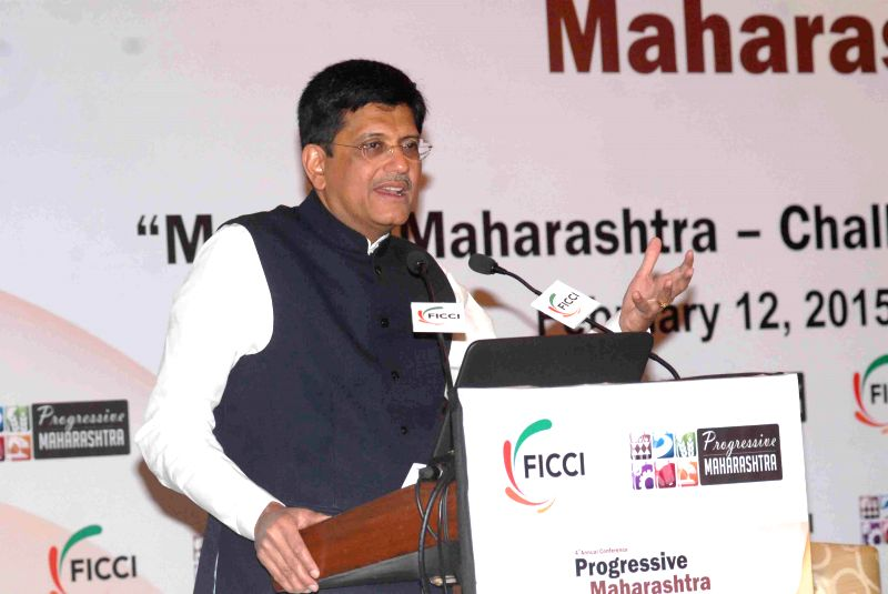 Minister of State with Independent Charge for Power, Coal and New and Renewable Energy Piyush Goyal addresses at the `4th Annual Conference  Progressive Maharashtra 2015` organised by FICCI ..